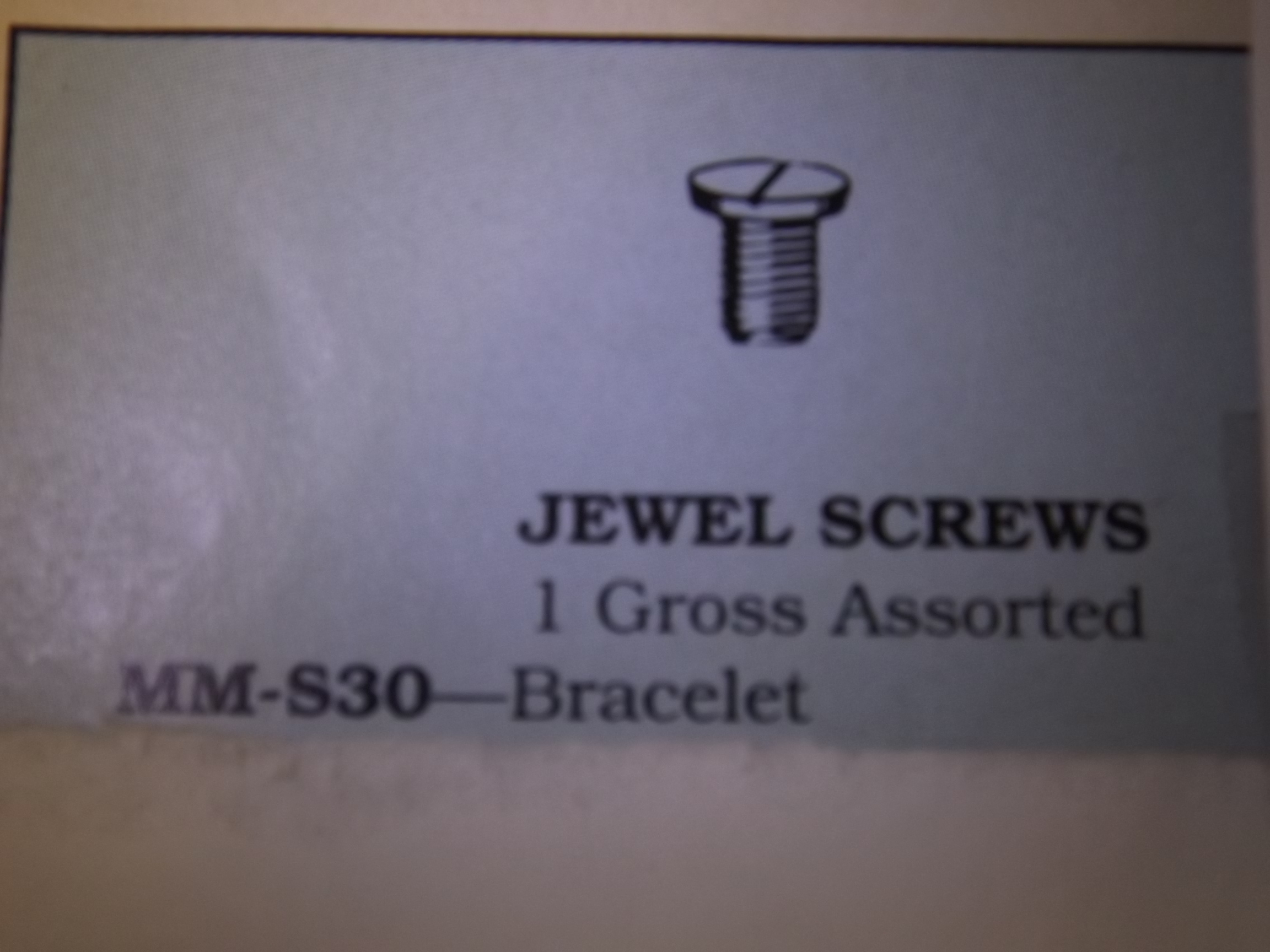 MM-S30 Jewel Screws, Bracelet- One Gross- Vigor - Two Only!
