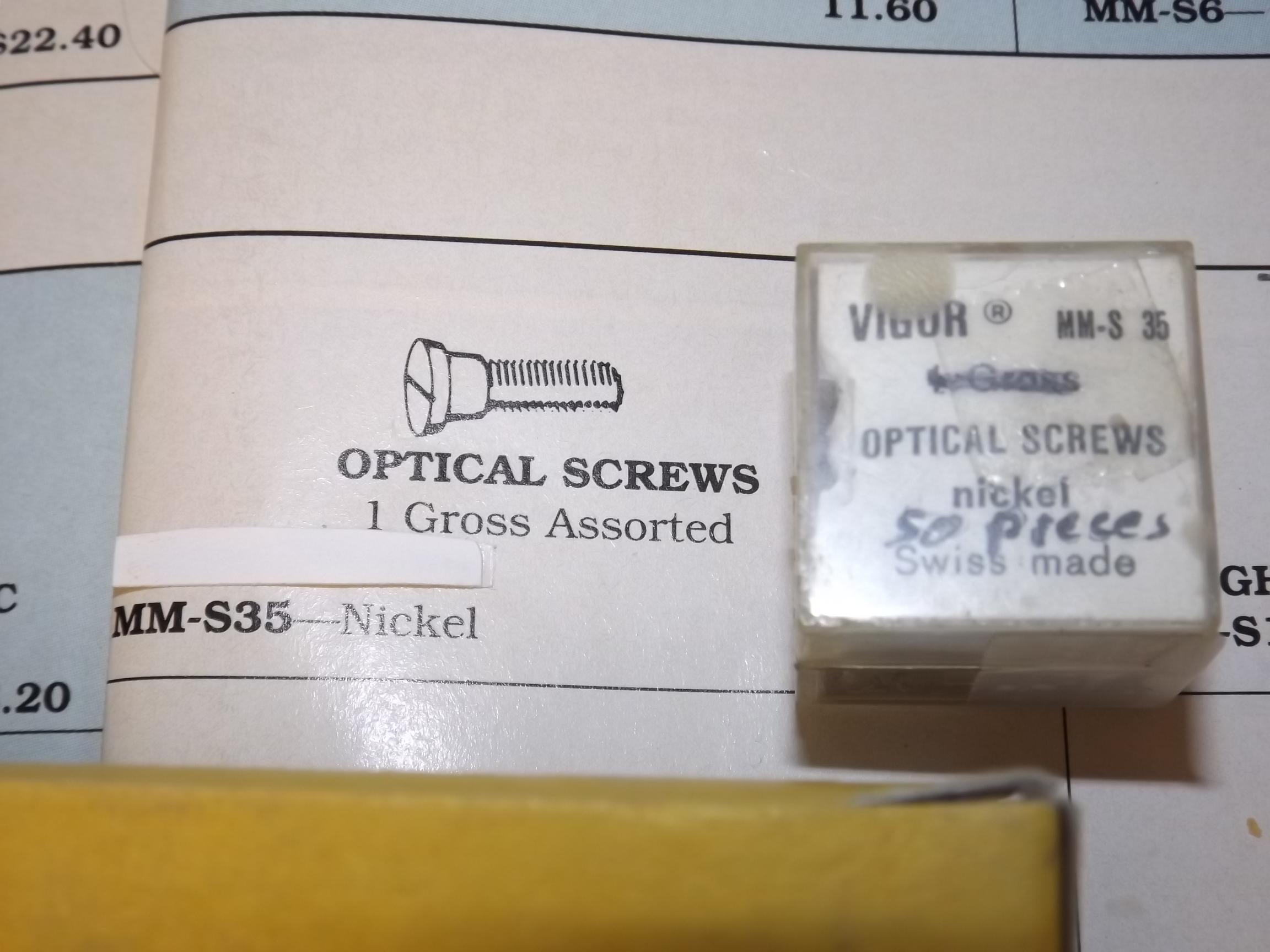 MM-S35 Optical Screws, Nickel- bx of 50- Vigor - One Only!