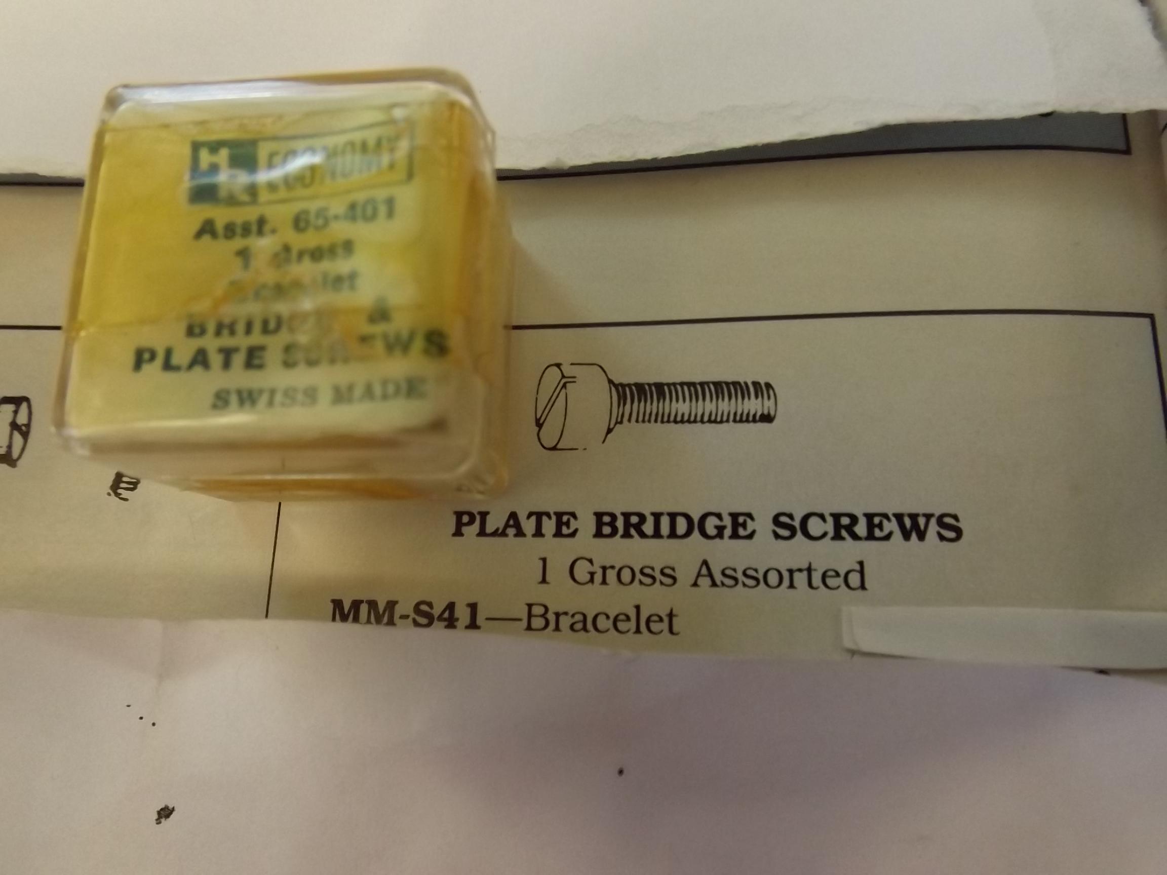 MM-S41 Plate Bridge Screws - Bracelet- 1 Gross- Grobet - Two Only!