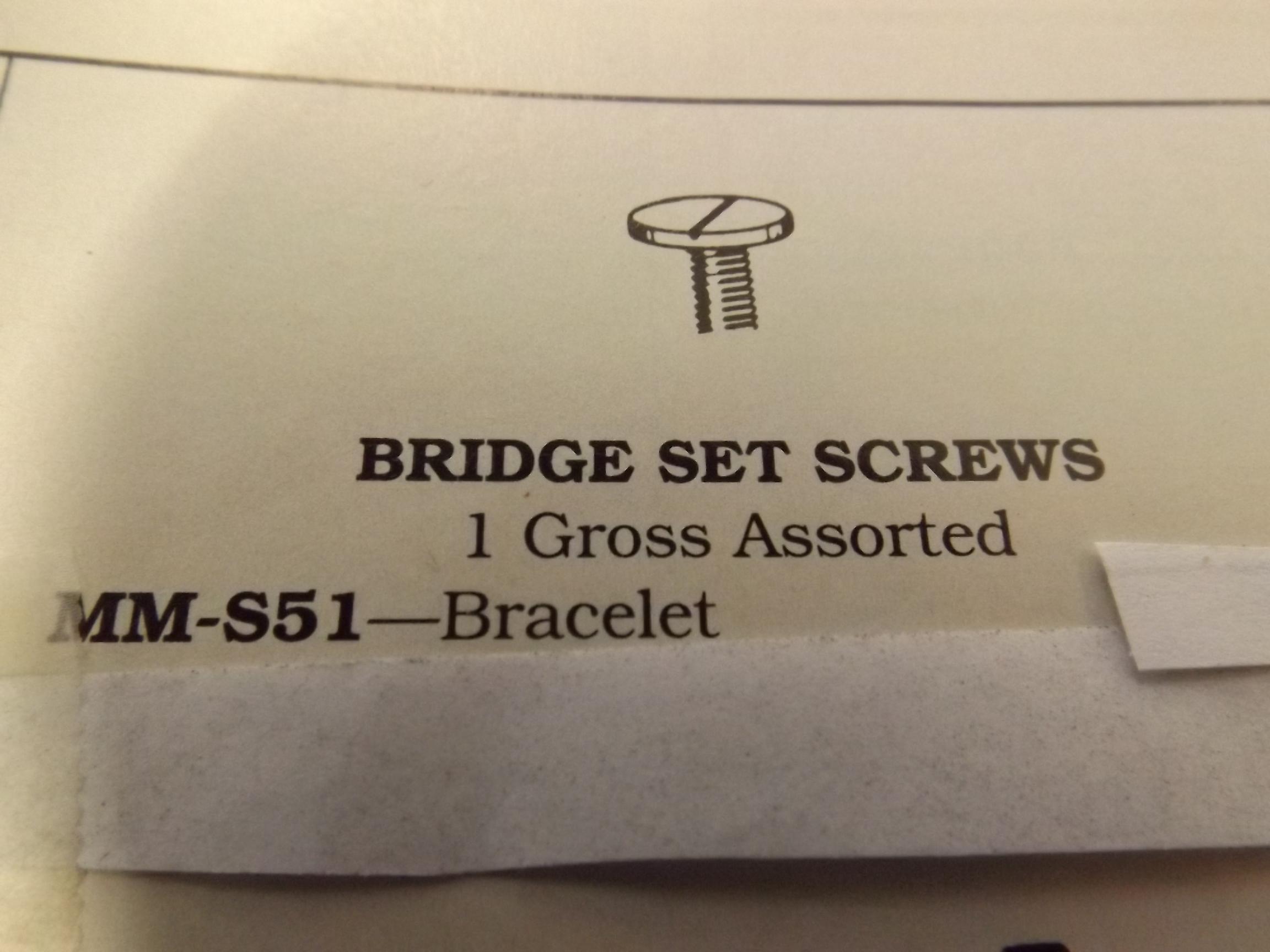 MM-S51 Set Bridge Screws - Bracelet- 1 Gross- Bestfit - Three Only!