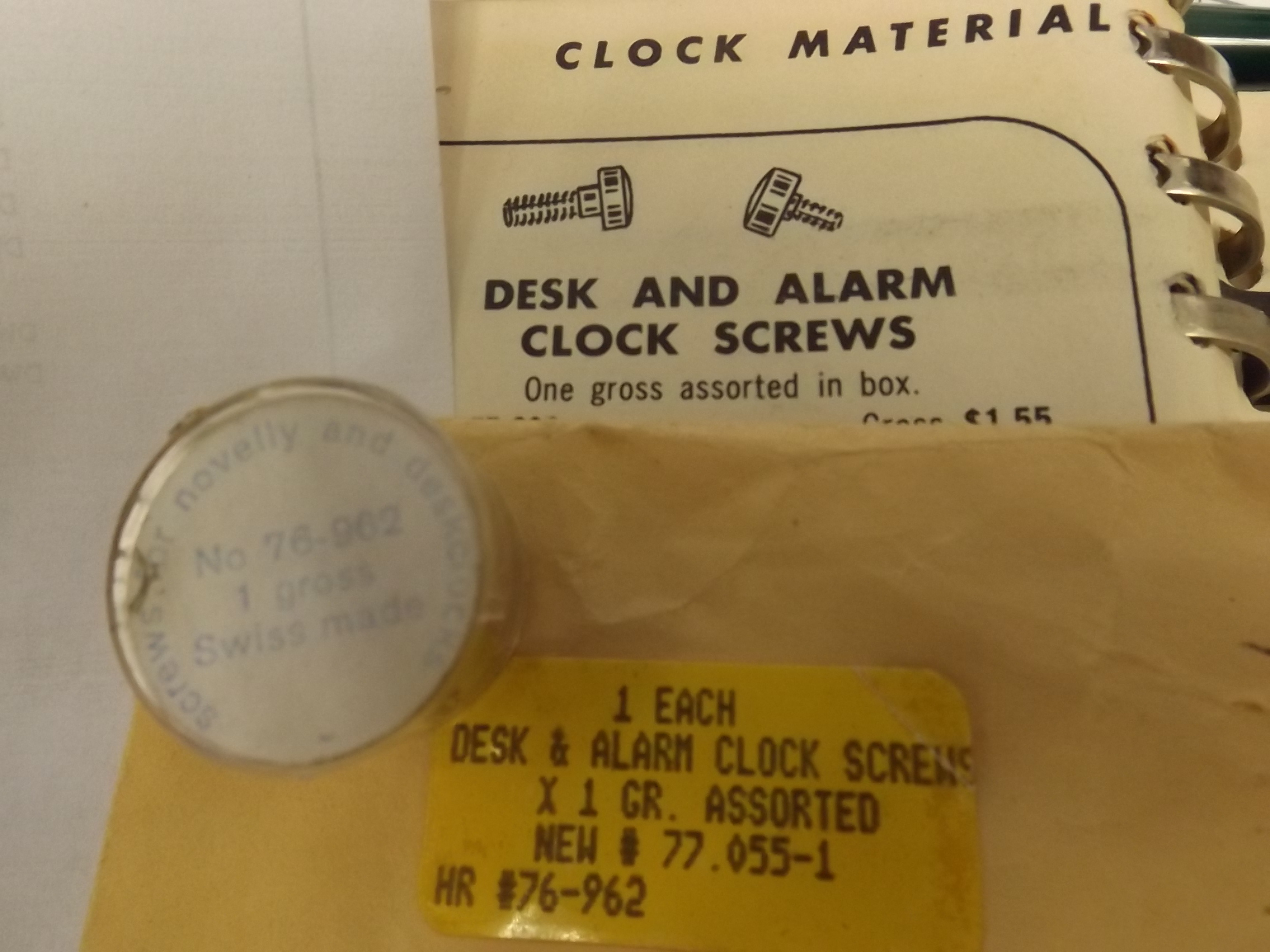 77.055 Desk & Alarm Clock Screws-1 Gross, Assorted-- Grobet