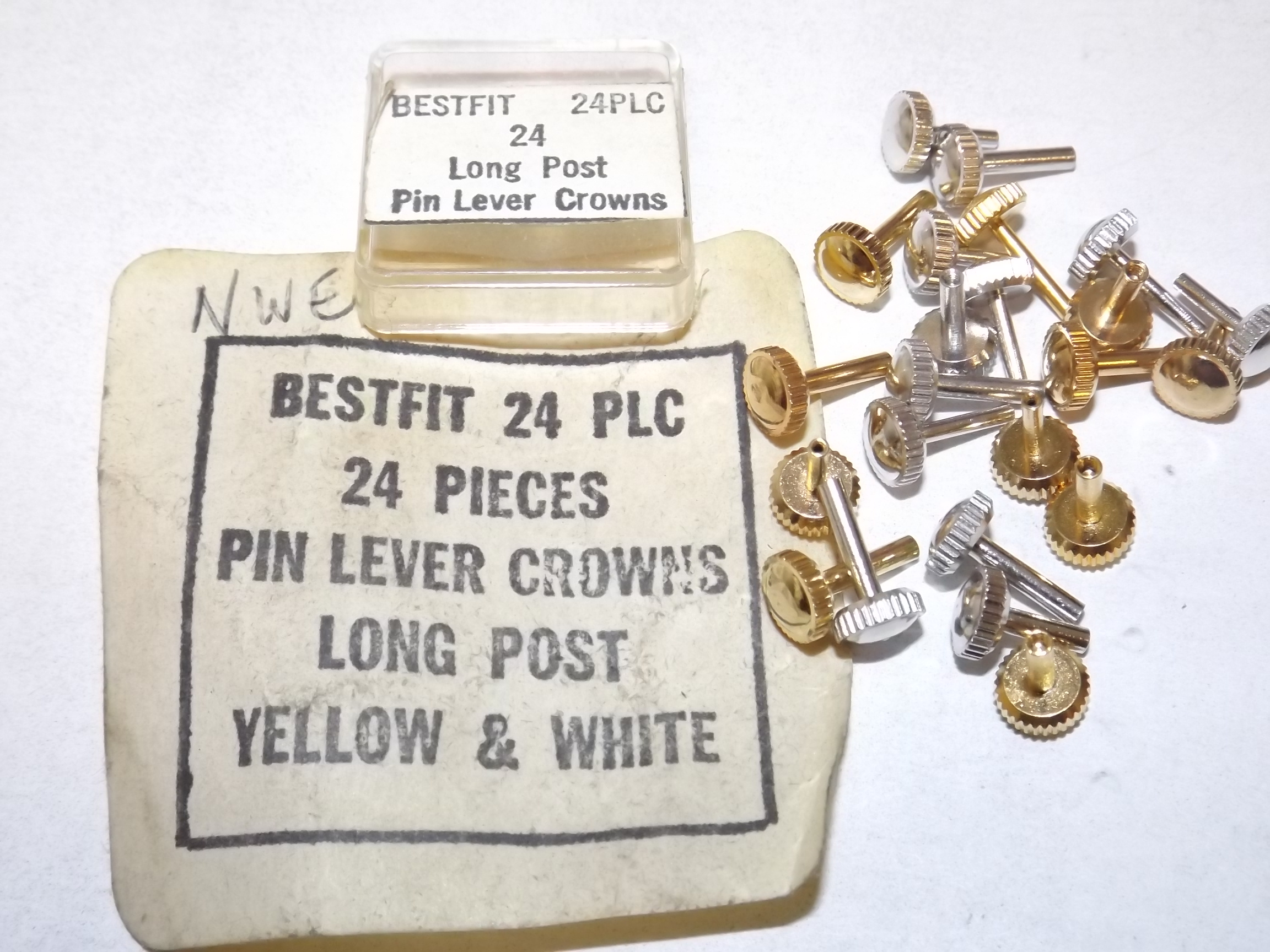 24PLC Assortment of 24 Long Post Pin Lever Crowns- Yellow & White- 8 Left! Bestfit
