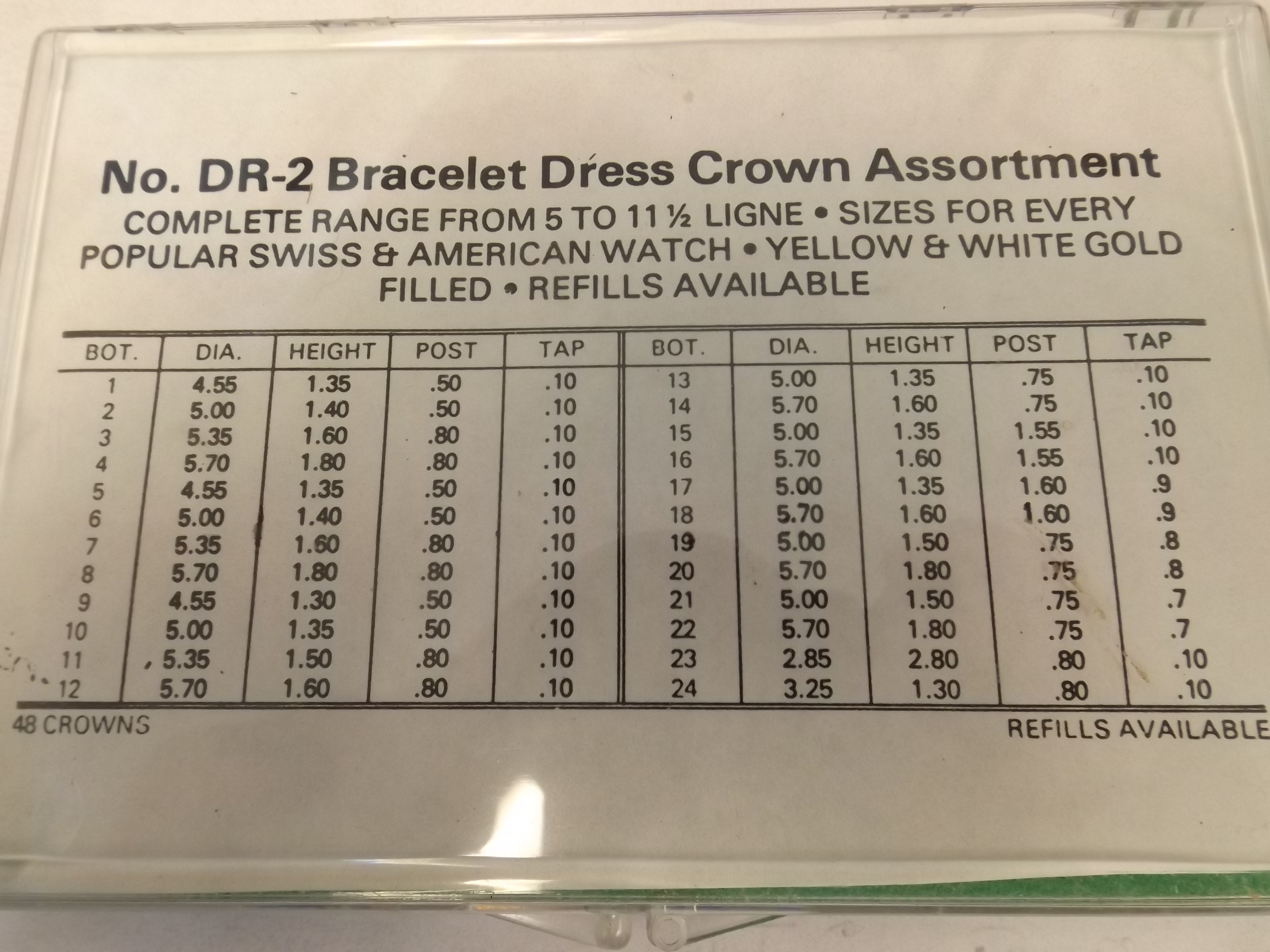 DR-2 Bracelet Dress Crown Assortment- 48 Piece- Yellow & White gold filled, for Swiss & American- Acon