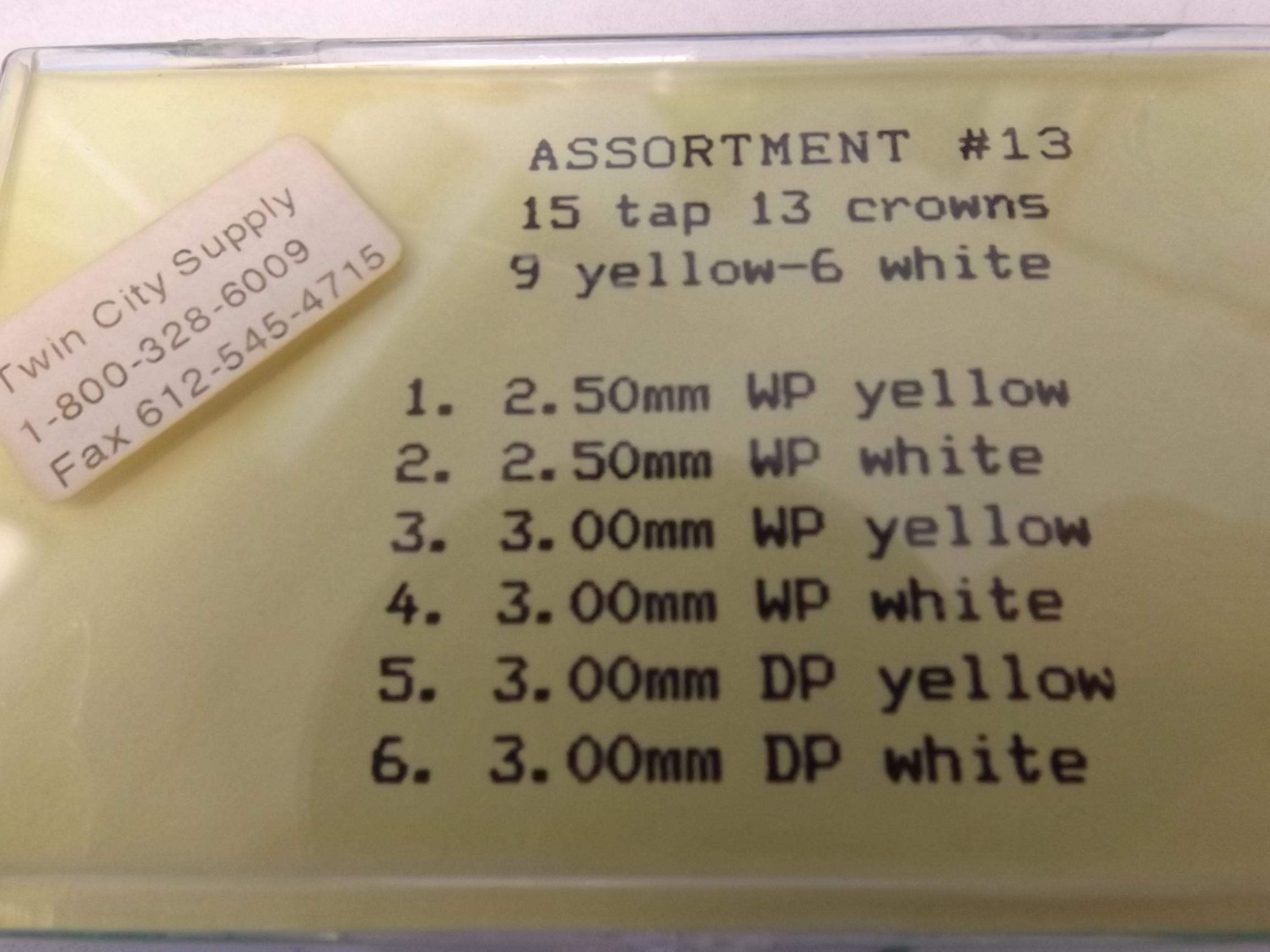 AC13 Tap 13 Crown Assortment- 15 Piece- Yellow & White, Waterproof & Dustproof- One Only!