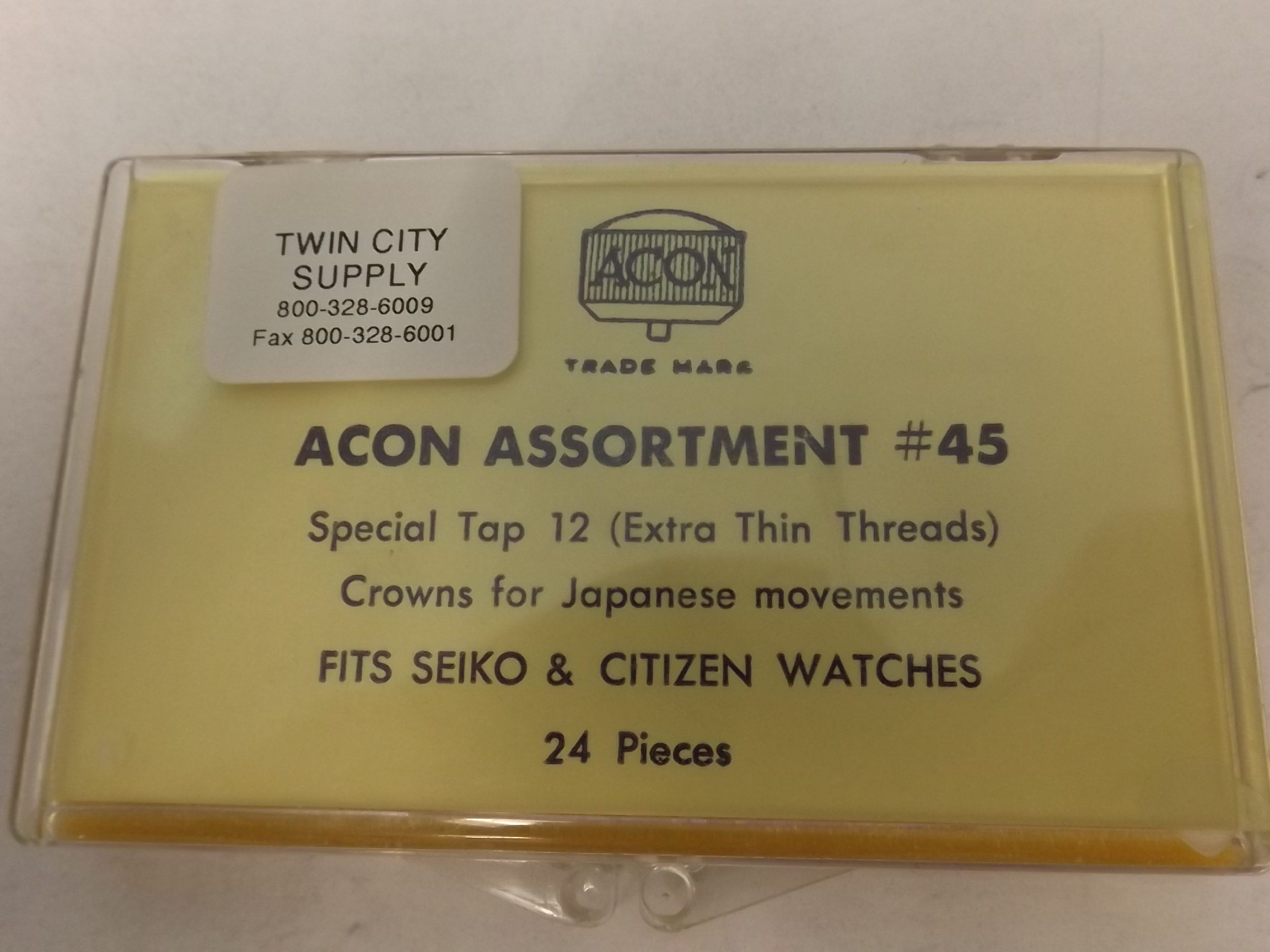 CR45A Special Tap 12 Watch Crowns Assortment with Extra Thin Threads- 24 Pieces -Acon- One Only