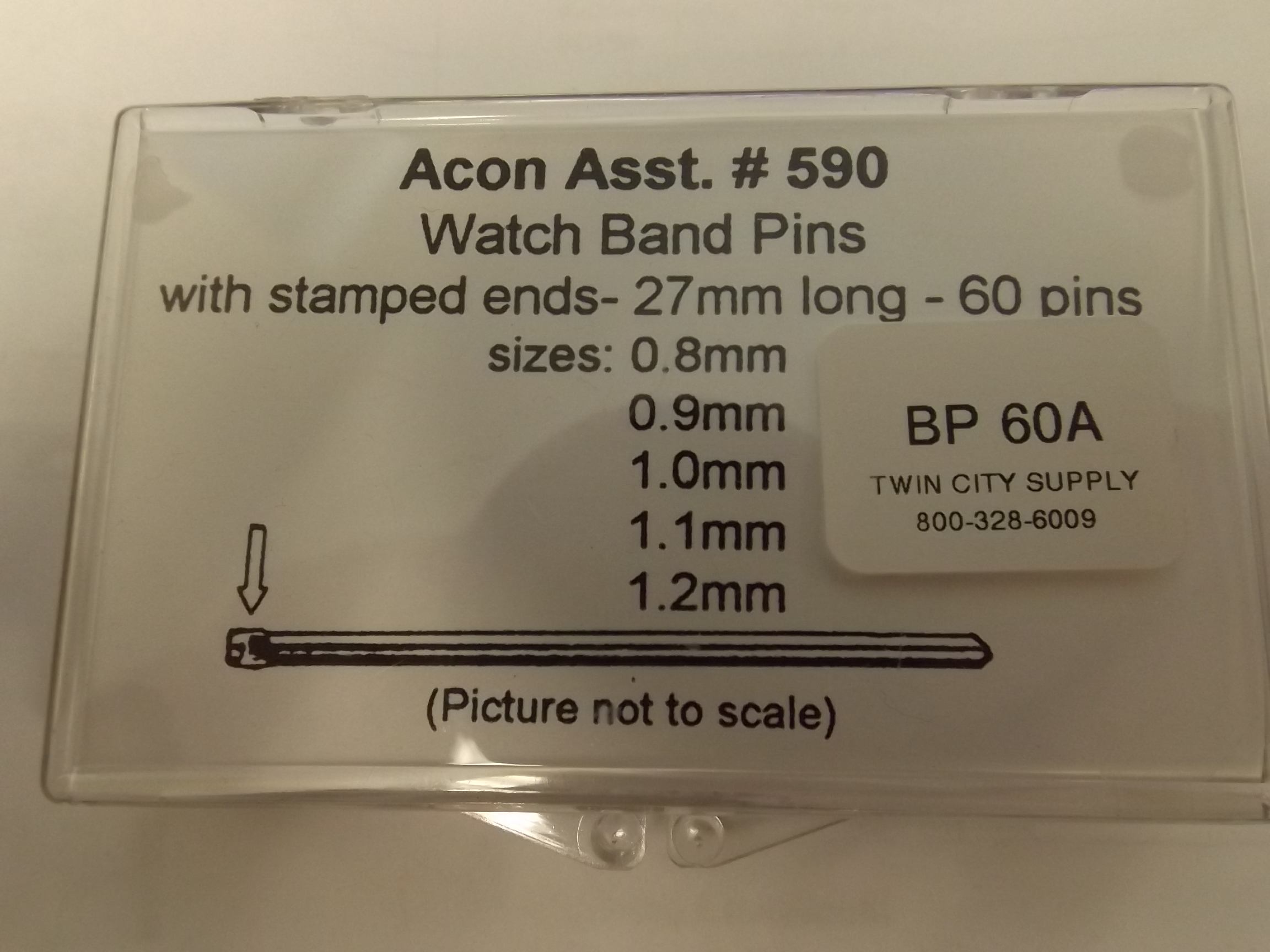 BP60A Bracelet Pin Assortment with Stamped ends- Stainless Steel- 60 pieces- Newall or Acon