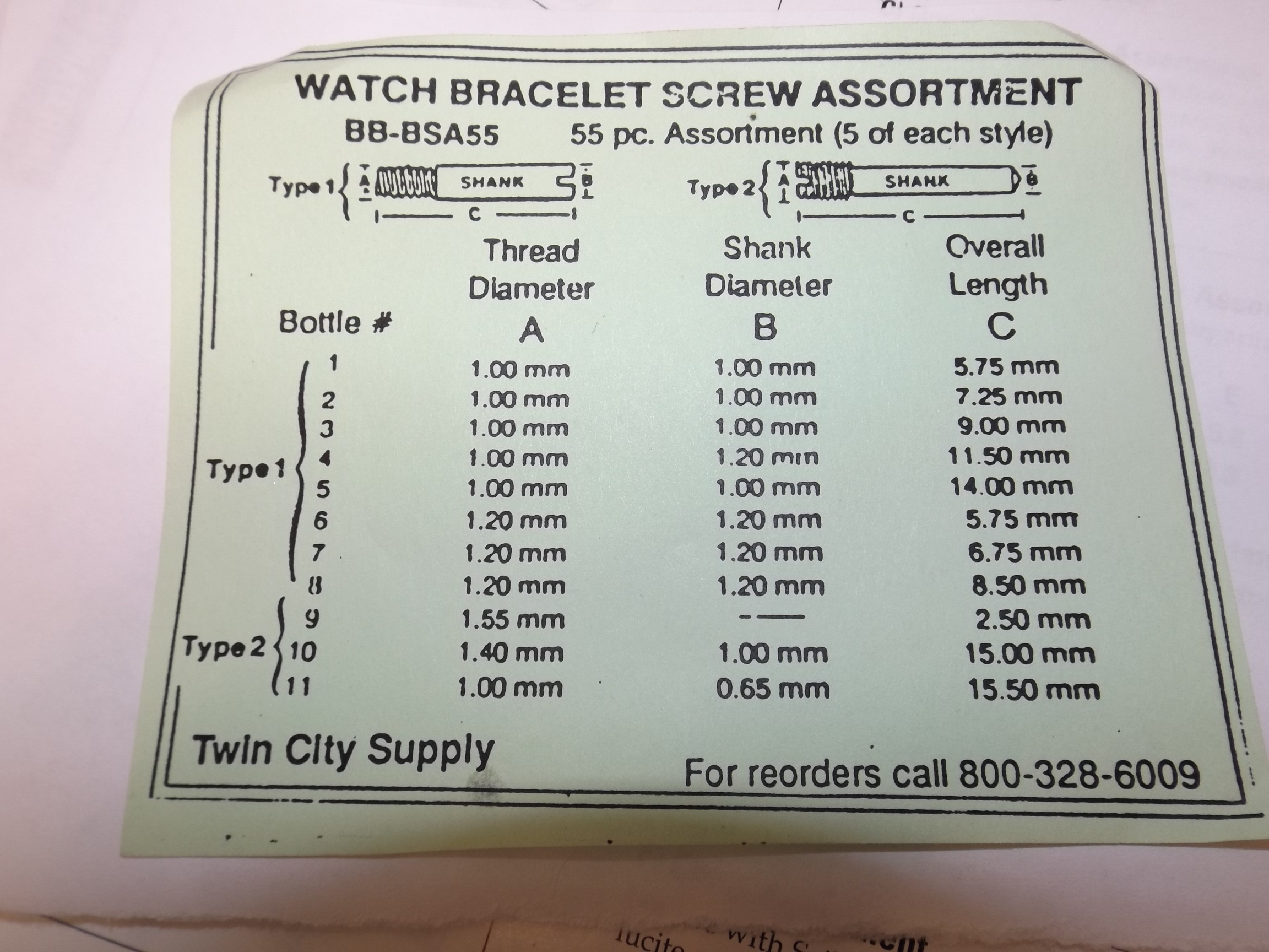 BB-BSA55 Watch Bracelet Screw Assortment-- 55 pieces Acon