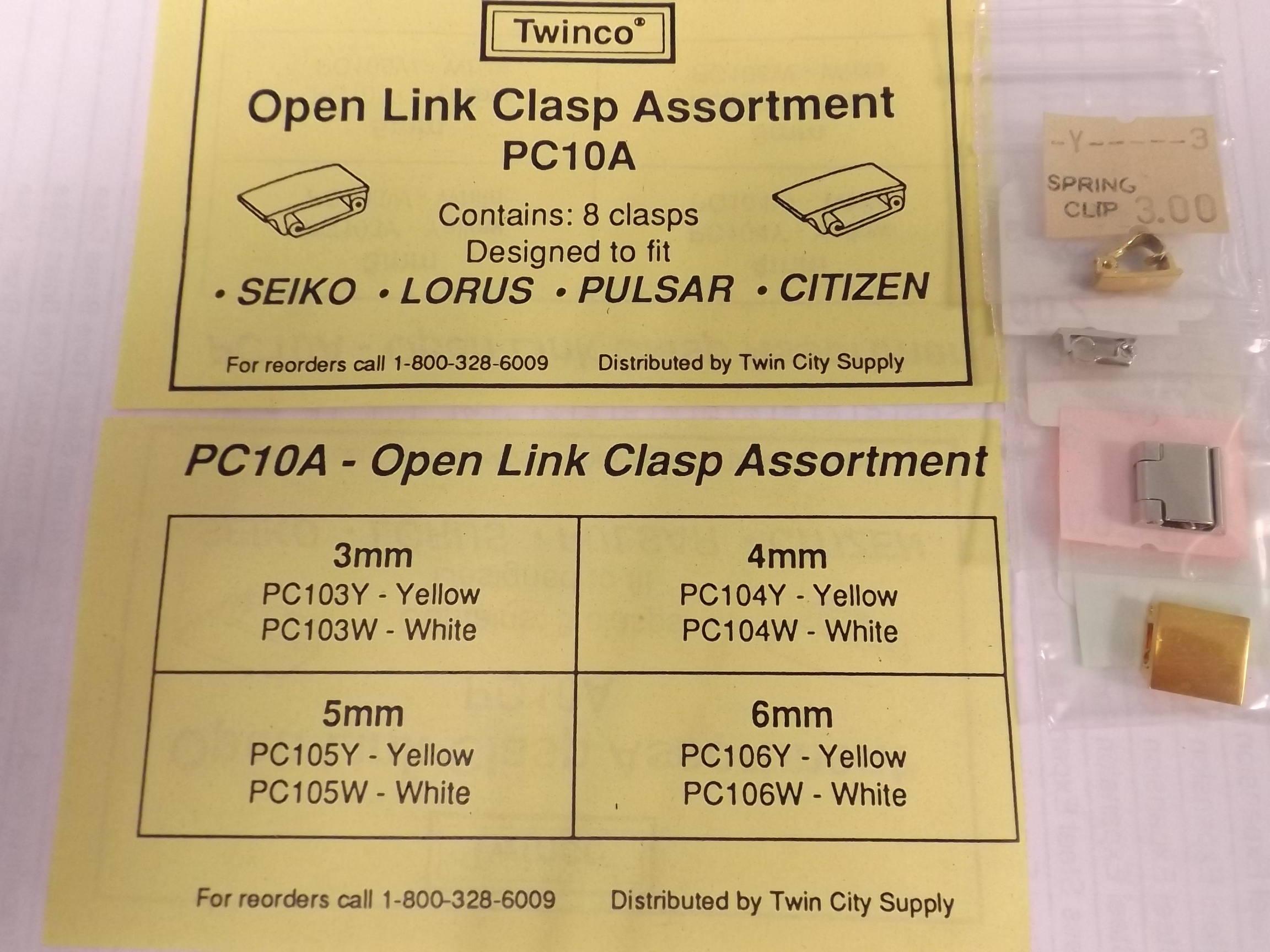 PC10A Open Link Replacement Clasp Assortment- 8 pieces, Y & W