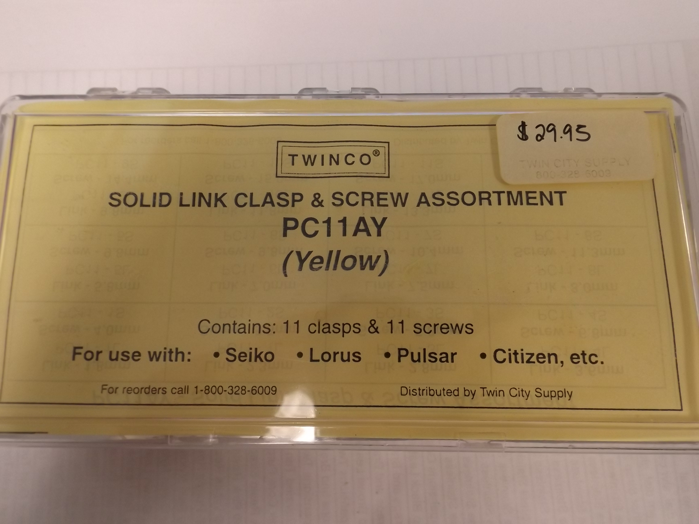 PC11AY Solid Link Replacement Clasp & Screw Assortment- 22 pieces, Yellow