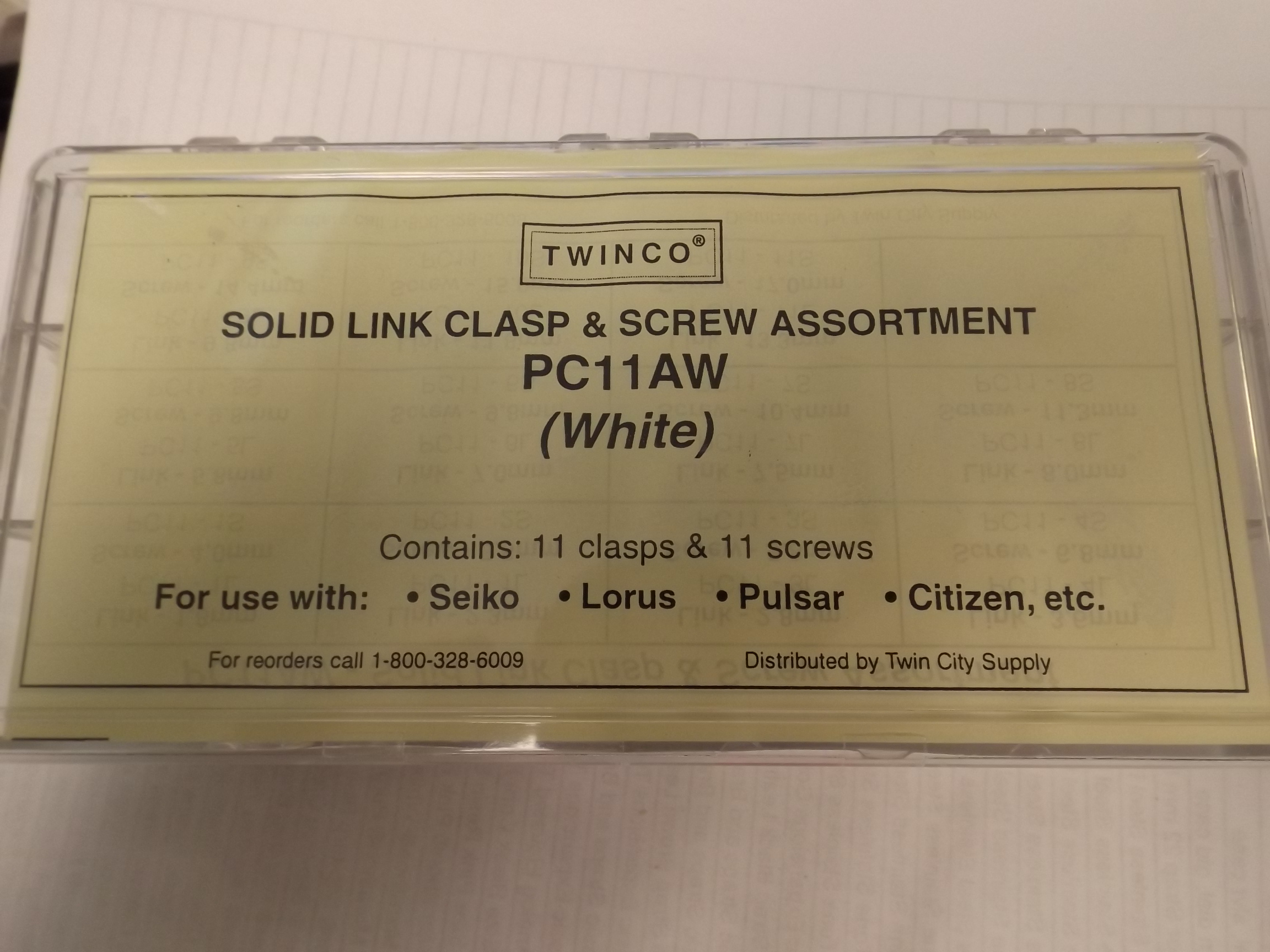 PC11AW Solid Link Replacement Clasp & Screw Assortment- 22 pieces, White