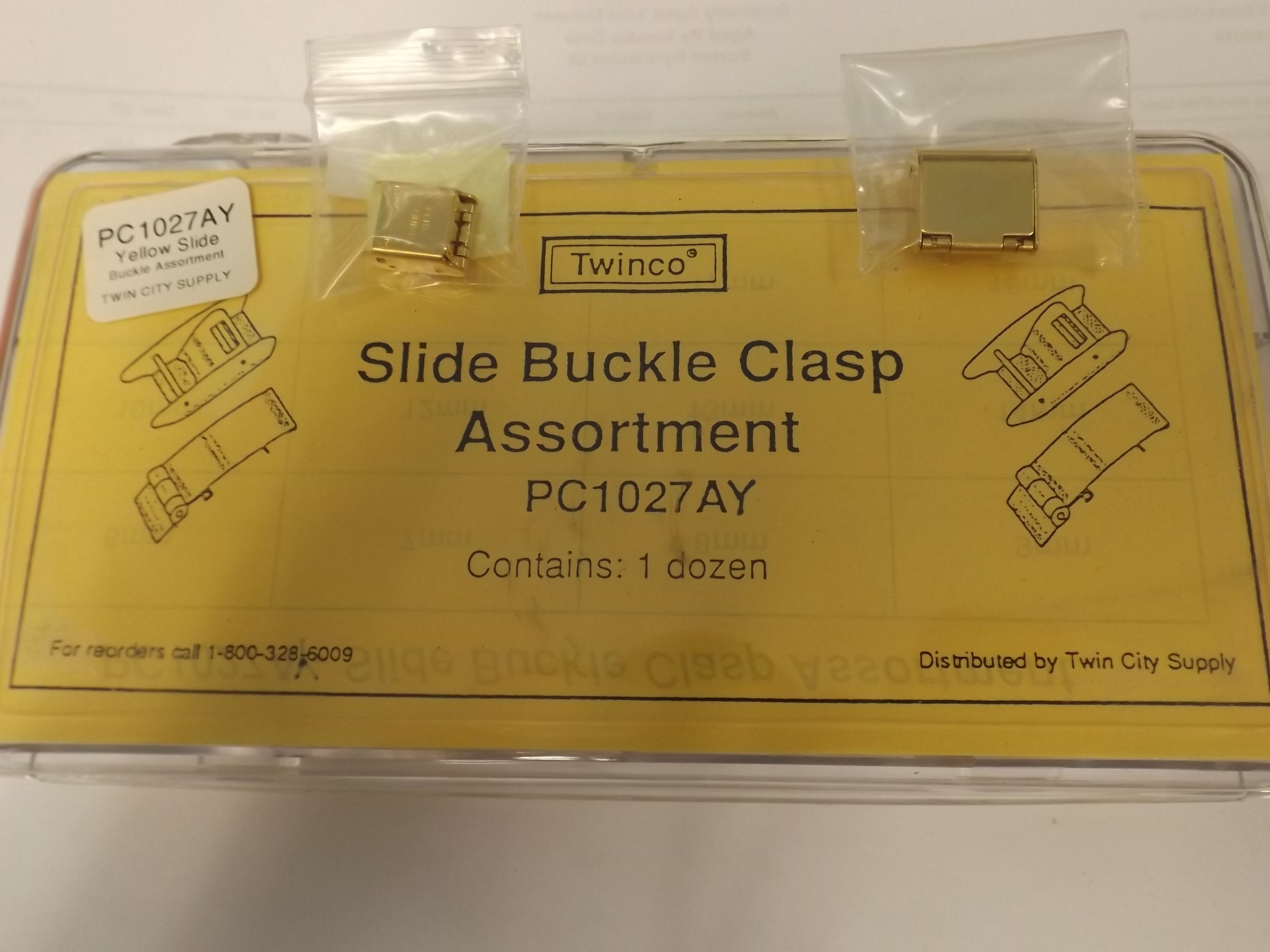 PC1027AY Replacement Slide Buckle Clasp Assortment-12 pieces, Yellow