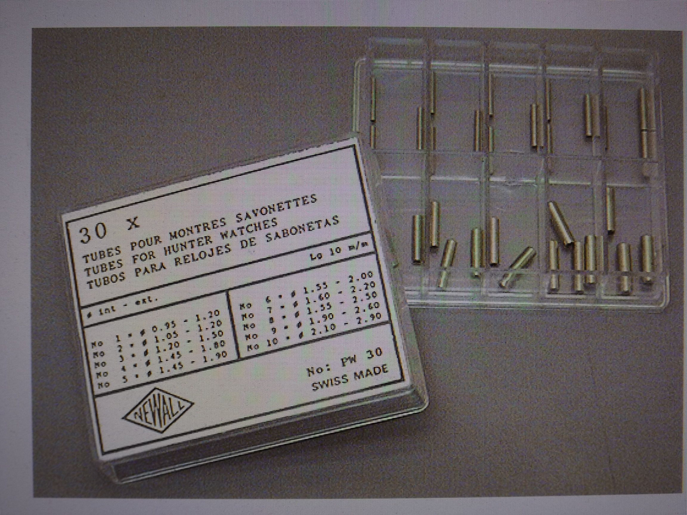 PW30 Tubes for Hunter Case Watches Assortment- 30 pieces, Newall