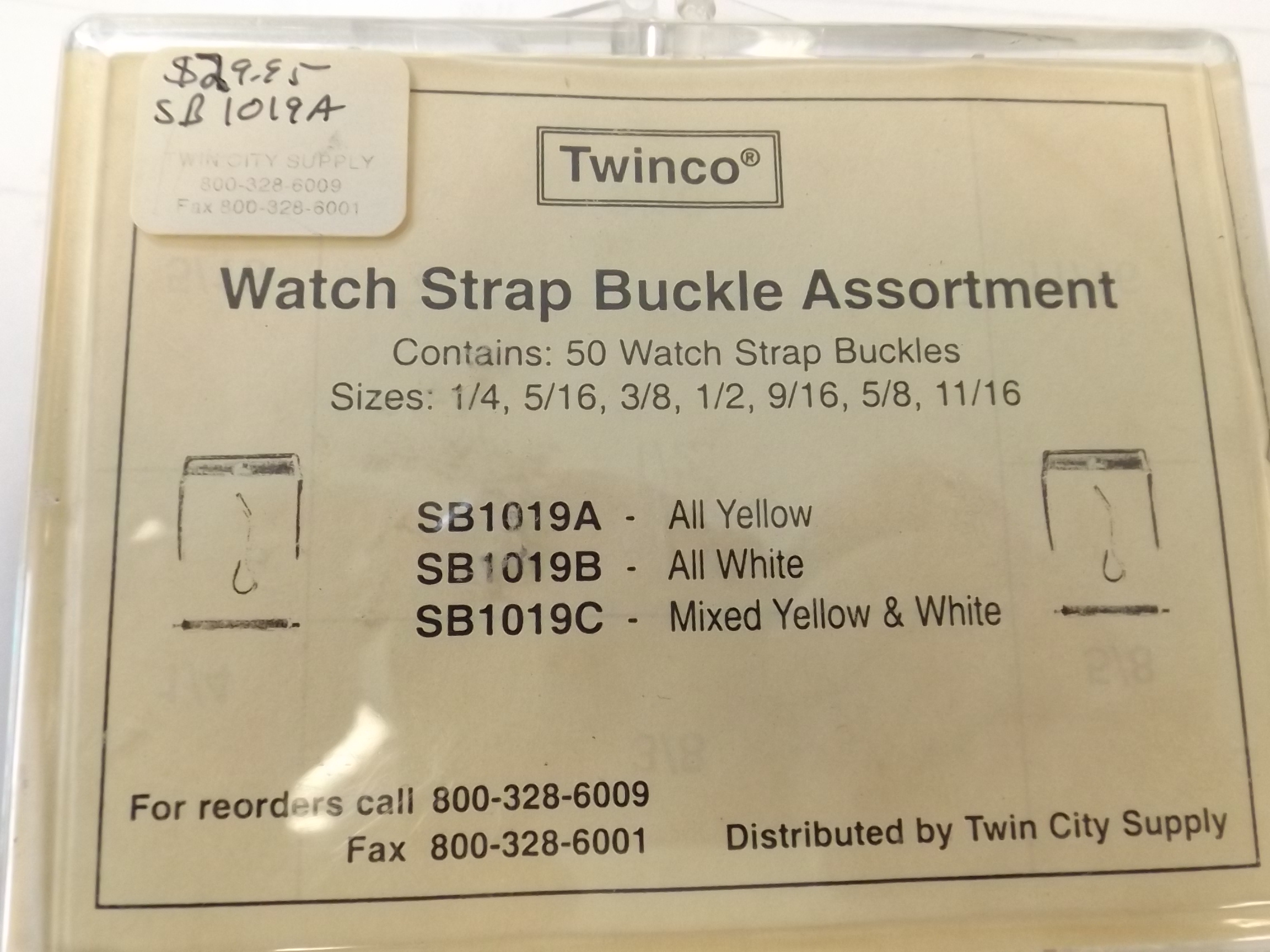 SB1019C Watch Strap Buckle 50 piece Assortment -White & Yellow