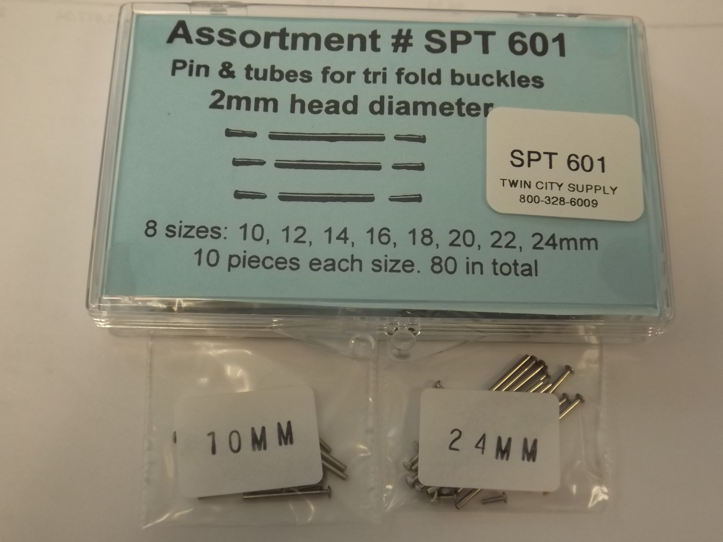SPT601 Tri-Fold Buckle Pins & Tubes Assortment- with 2mm head diameter- Acon