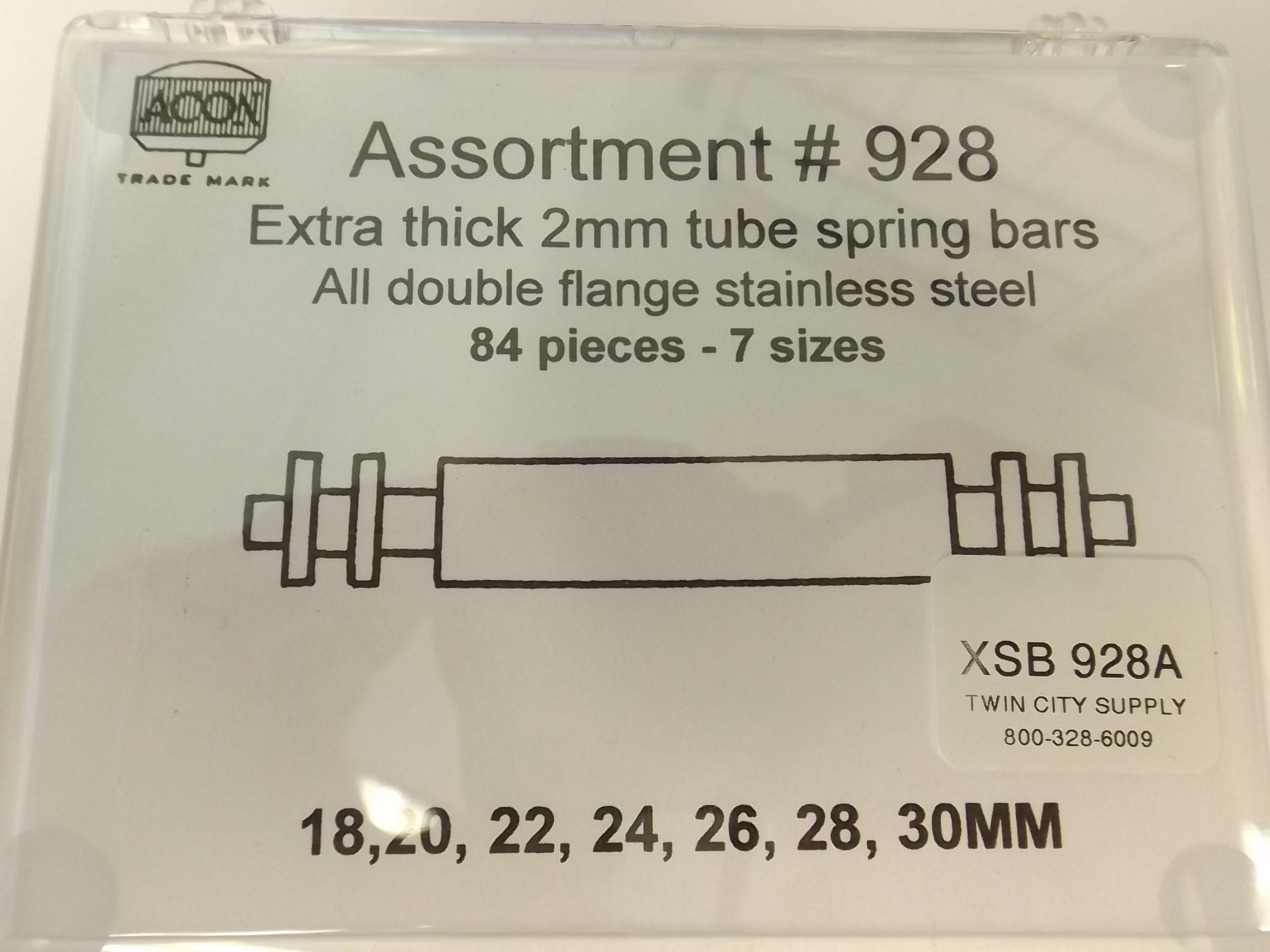 XSB928A New! Extra Thick Spring Bars Assortment--2 MM Tube- Acon # 928
