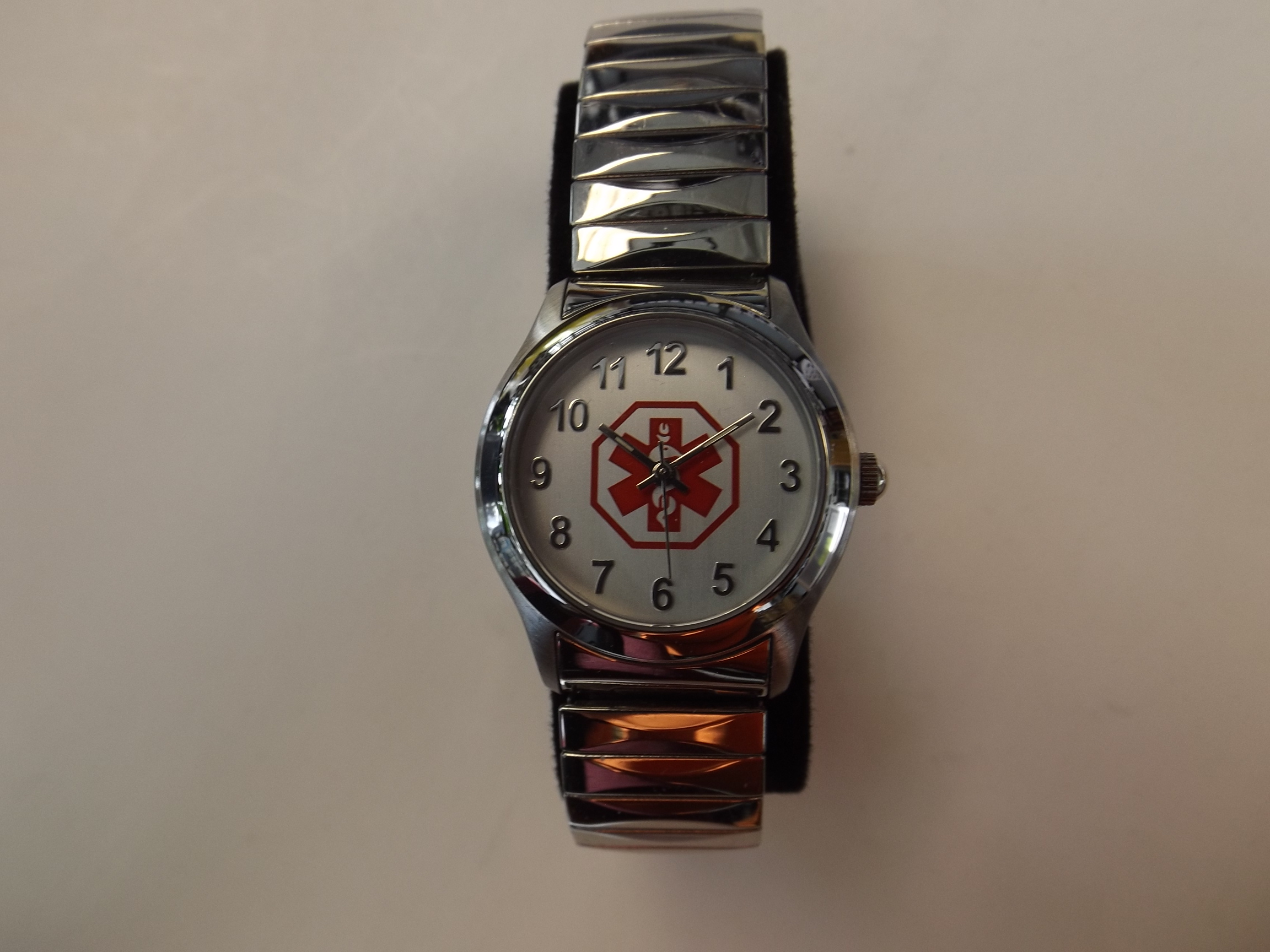 """DTC653 """"Doc Tock"""" Medical Alert Ladies watch with silver expansion band- One Only"""