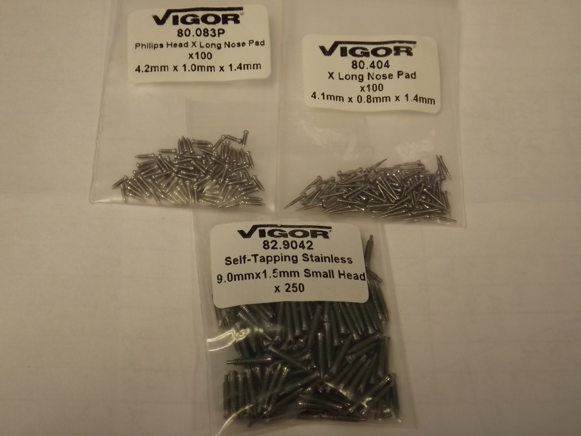 82.9042 Optical--Self tapping Stainless Small Head Screws- 9.0 mm x 1.5mm- pkg of 250 - Vigor/Grobet- 1 Only!