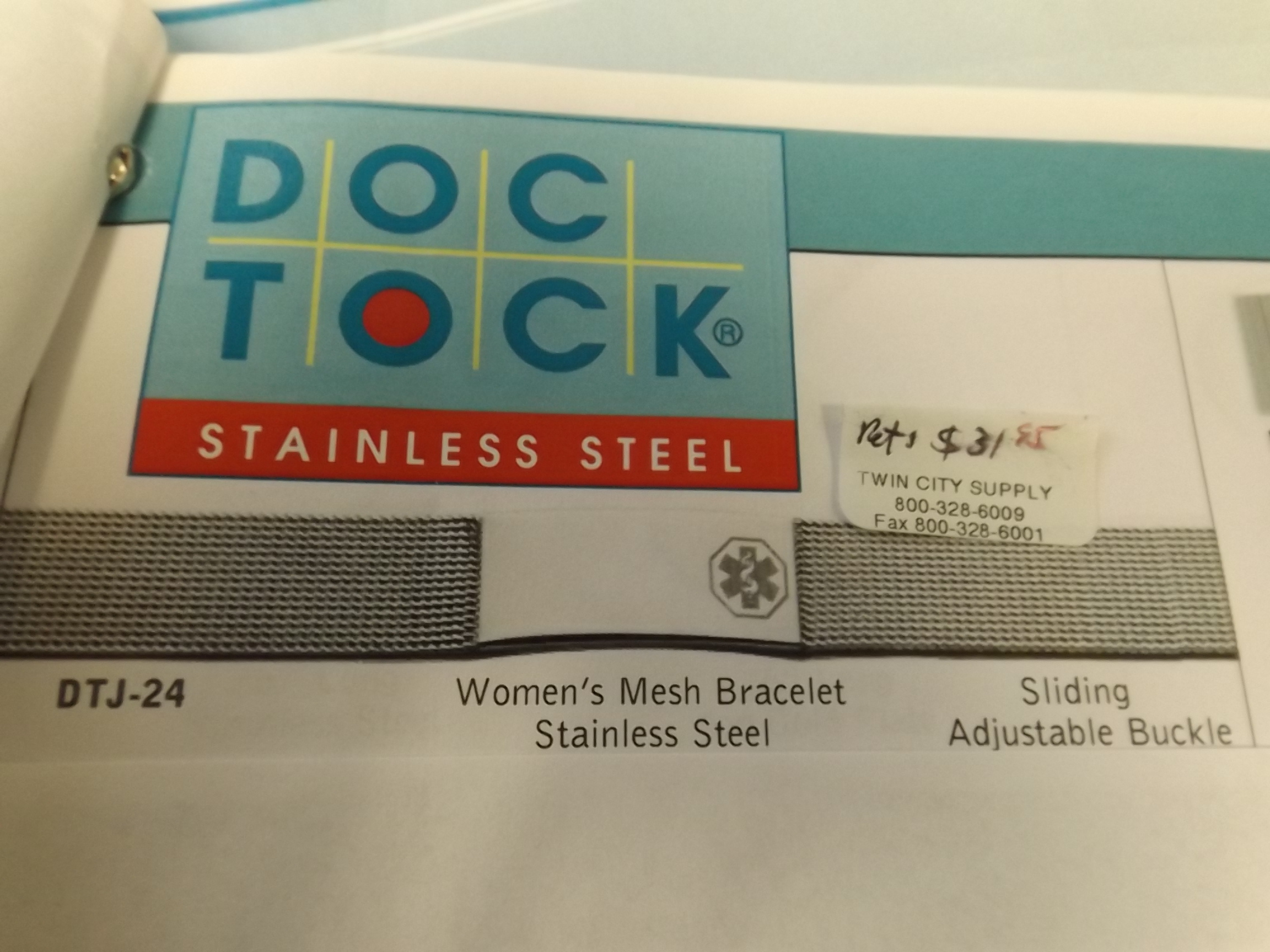 DTJ24 Ladies Medical Alert Stainless Steel Mesh Bracelet- while they remain!