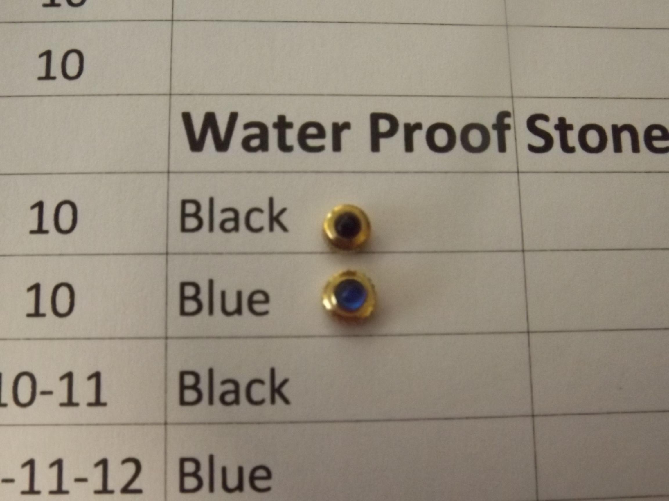 CR7015-10Y-Blue Stone Set Waterproof Watch Crowns- 4.00 x 2.00 Tap 10-Yellow