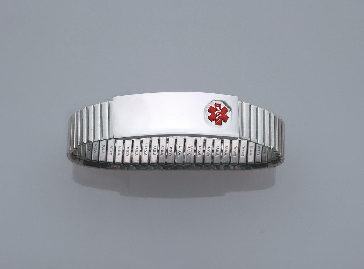 DTJ55 Ladies Medical Alert Sterling Silver Expansion ID Bracelet