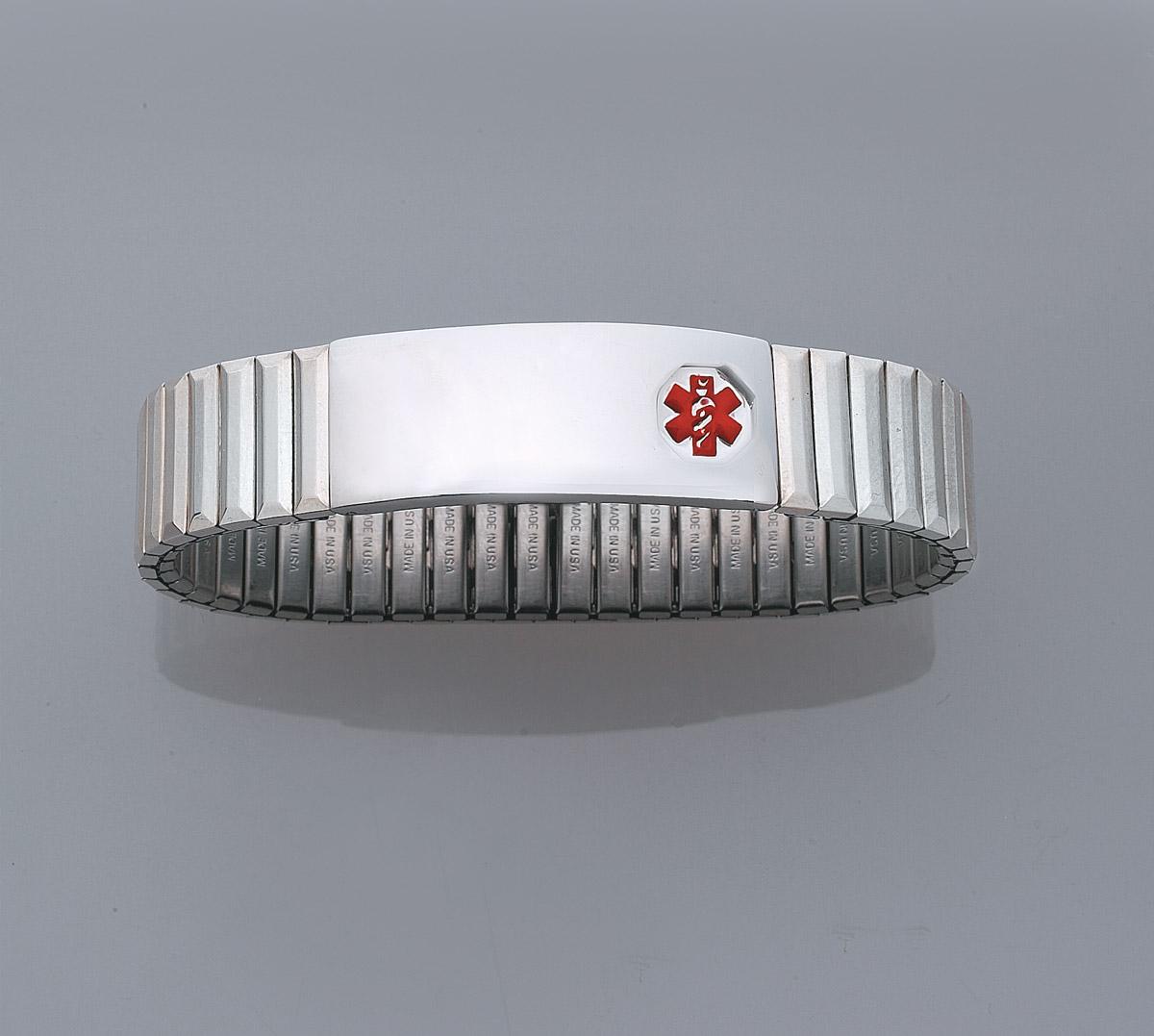 DTJ56 Mens Medical Alert Sterling Silver Expansion ID Bracelet