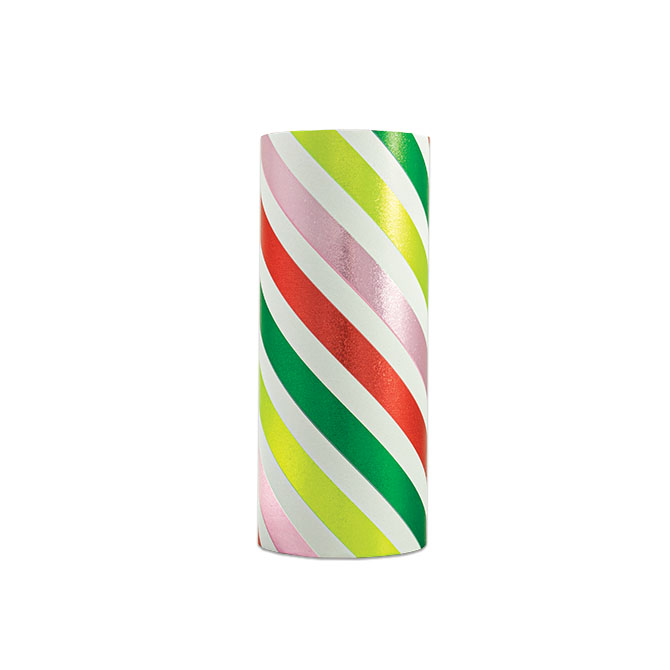 PA874 Jewelers Roll Giftwrap- New! Candy Stripe- Metallized
