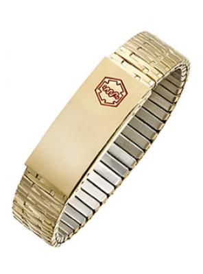 YB1700MED-8 STAINLESS STEEL GOLD PLATED MEDICAL ID Bracelet- New!- Alpine