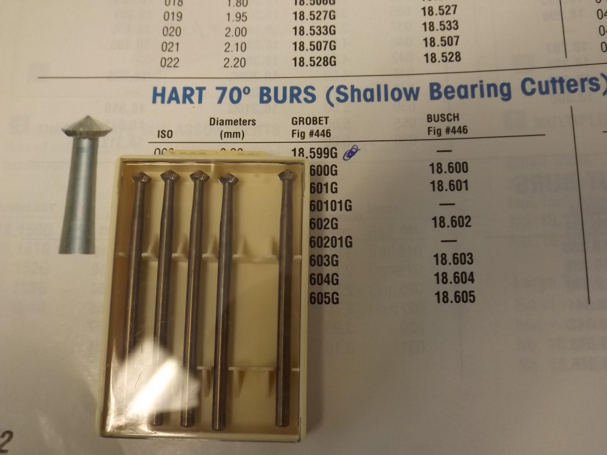 BR446/7 Grobet brand Bur, 70° Hart, Fig. 446, Size 021- # 18.605