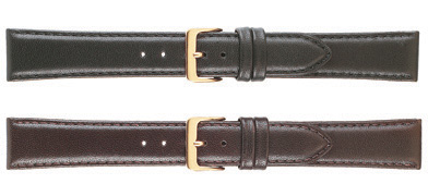 K131-18S Classic Calf Leather Watch Bands Black SHORT mm sizes: 18mm
