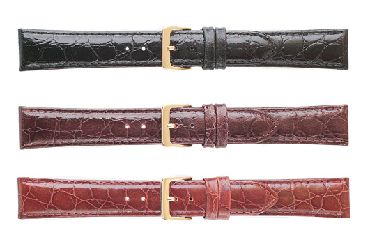 K332-18XL WBHQ Croco Grain Leather Watchband EXTRA LONG Brown 18 MM