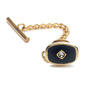 ID119 Tie Tack --Ion Gold Plate with Cubic Zirconia