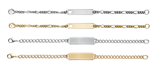 """ID12 Kids 6 1/2"""" ID Bracelet Ion Gold Plate with Heart"""