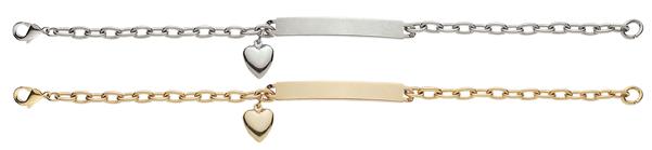 "ID27 Women's 7 1/2"" Stainless Steel ID Bracelet with Heart"