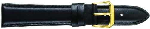 K331.1 Smooth Padded Stitched Leather Watch Bands- Black New! Alpine