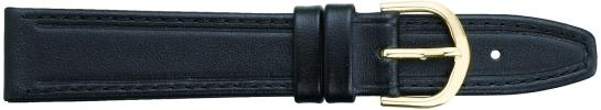 K334.1 Flat Stitched Leather Watch Bands- Black New! Alpine