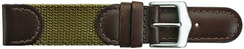 K380.16 Swiss Army Style Stitched Leather/Fabric Brown/Khaki Watch Bands-New! Alpine