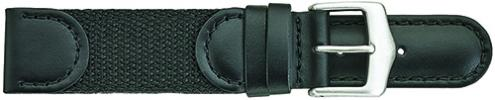 K380.1 Swiss Army Style Stitched Leather/Fabric Black Watch Bands-New! Alpine
