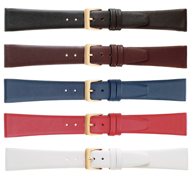 K111-18S Smooth Calf Leather Watch Bands Black SHORT 18MM